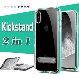 Standı Tutucu Kickstand Kapak For iPhone 11 Pro Max XS XR X 8 7 6 6S Artı Samsung Galaxy ile 1 Vaka Şeffaf Şeffaf Koruyucu 2 Hibrit