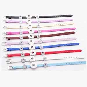 en gros assortiment 20PCs / lot femmes pu cuir 18mm gingembre snap chunk charms bouton noosa style manchette bracelets
