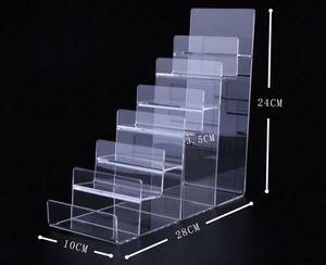 Boutique store Sete-camada de Acrílico Carteira Display Stand Titular Bolsa de alta qualidade Prego polonês cosméticos prateleira de telefone prateleira de jóias
