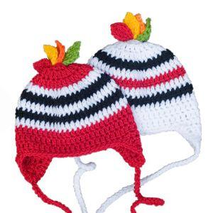 Adorable chapeau d'équipe de hockey, tricoté à la main au Crochet bébé garçon fille jumeaux rayé chapeau de sport, bébé Prop Photo Prop, cadeaux de douche