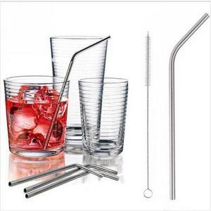 304 Stainless Steel Curva Palhinha com escova de limpeza para copos durável e reutilizável de metal beber suco palhas
