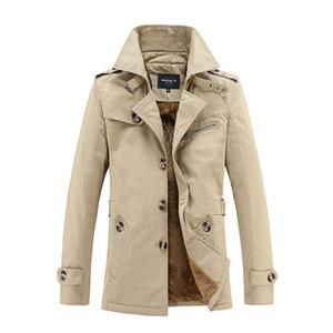 도매 - 가을 겨울 트렌치 코트 남성 패션 캐주얼 카키색 트렌치 코트 따뜻한 양털 윈드 남성 매체 - 긴 재킷 큰 사이즈의 M-5XL