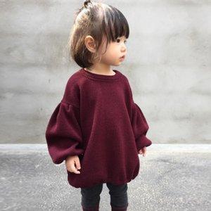 Сплошной цвет ребенка вязаный пуловер воздушный шар рукава свободных свитеров пальто хлопок маленькая девочка мода одежда 17080705