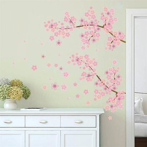 Pink Flower Branch Tree Cherry blossoms Home Decoration Wall Stickers Living Room Bedroom Family Modern Adesivo