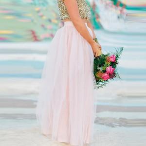 라이트 핑크 최신 디자인 Tulle Skirt 롱 A 라인 스커트 고품질의 심플 패션 맥시 스커트