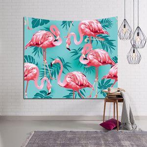 tenture tropical flamenco tapiz jungla planta hojas colgante de pared decoración impresa tela de poliéster vida silvestre arte de fondo