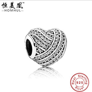2017 Real Promotion Authentique 925 Sterling charme en argent Perles Fit Original bracelet bricolage Diamant total coeur blanc CZ bracelet Bijoux