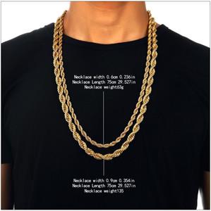 حار 6-9mm الذهب معدن مطلي الجديل تويست سلسلة 29.5 بوصة للرجال / نساء أزياء مذهل بارد مجوهرات