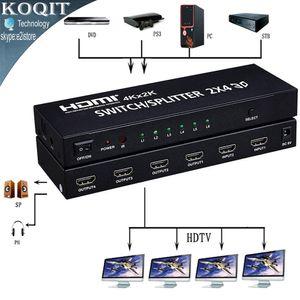 Envío gratuito 4K * 2K HDMI 2x4 Matriz + Extractor de audio Interruptor Splitter Convertidor adaptador con control remoto 2 en 4 a 4K 3D 1080p v1.4