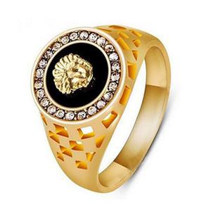 Nueva marca 18 K oro Sivler plateado Hiphop cristal austriaco negro león hombres anillo para mujer hombre animal Anel joyería de moda envío de la gota