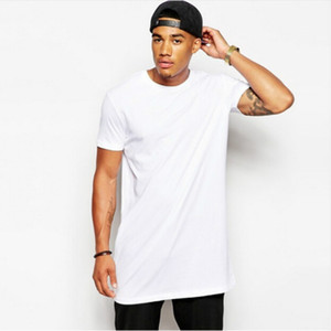 New Casual Hip Hop Long T Shirt Hommes Tops noirs T-shirts Mâle O-cou Hiphop chemise T-shirts manches courtes