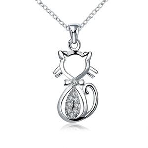 Quantidade pequena quantidade aceitada bonito de prata banhado a latão Metal Cat pingente colar da menina para presente frete grátis