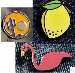 Японский мультфильм милый эмаль брошь студент ювелирные изделия фламинго кактус фрукты падение глазури брошь булавки значок Pinback кнопка корсаж подарок