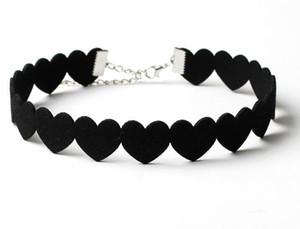 Bijoux de fille de mode Collier en forme de coeur Longueur de colliers peut ajuster colliers de coeur de velours coréen Velvet love chokers style créatif