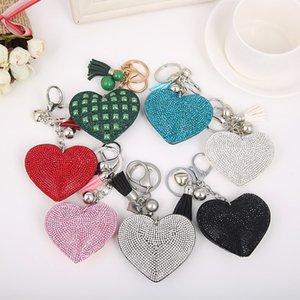 Freies Verschiffen Herz-Form-Leder-Quasten überzogener Art und Weise neuer Shinning Keychain Schlüsselring-Schmucksachen für Liebhaber-Freunde