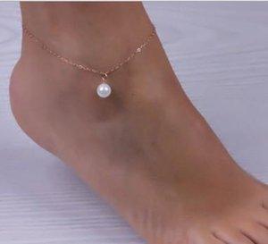 Имитация Жемчужина кулон лодыжки браслет серебряный позолоченный цепи ссылка пляж ножные браслеты ювелирные изделия для женщин ножные браслеты аксессуары для ног FE
