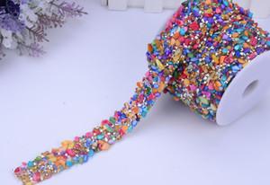 Nave libera Lussuità colorata Rhinestone Applique Applique Trims, larghezza 3cm, Abito da sposa Abito da sposa Applique Applique, Trim di cristallo per abito Design moda