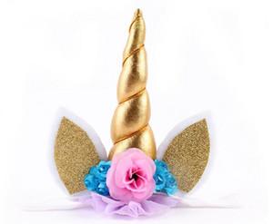 Eco-Friendly 5 polegadas Glitter Unicorn Horns Headband para meninas e crianças 2,017 feltro acolchoado Unicorn banda Cabelo Acessórios Unicorn Partido DIY