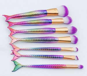 Pro 7 ADET Mermaid Makyaj Kaş Eyeliner Allık Karıştırma Kontur Vakıf Kozmetik Makyaj Fırçalar Set En Kaliteli Hediye