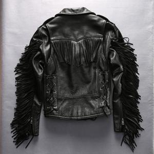 Hombre chaqueta de cuero de la borla delgada solapa oblicua cremallera Hombres abrigos de moto de Harley Primera capa de cuero genuino