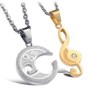 Romantico 2Pcs Mens Womens Stainless Steel Music Note Puzzle Pendente Love Necklace Anniversary Valentine Gifts for Him and Her