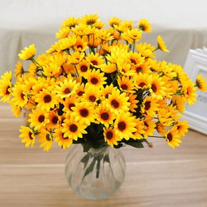 Wholesale-14 Head Fake Simulation Sunflower Artificial Silk Flower Bouquet Home Wedding Floral Decor Valentine's Day