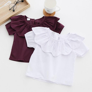2017 Summer Girls Blouse Sun Flower Collar Cotton Shirt Children's Blouses Kids Girl Tops Clothes 3209