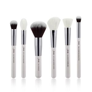 Jessup 6 unids Pearl White / Silver Pinceles de maquillaje profesional Conjuntos de maquillaje Herramientas de belleza Cosméticos Buffer Pintura Cheek Highlight Powder