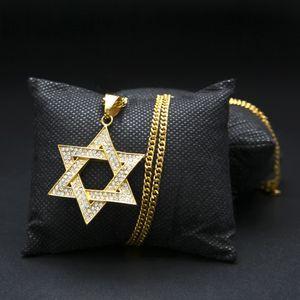 Pendentif Étoile de David en Diamant Femmes Hommes Or Plaqué Argent Hip Hop Israël Collier Étoile Classique David Star Croix
