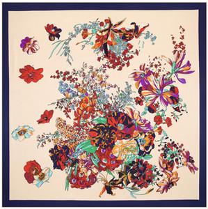 Venta al por mayor-100cm * 100cm 100% sarga de seda de la marca Euro Primavera Rose Flores Imprimir mujeres bufanda cuadrada Femal Musulmana pañuelo del mantón 3113