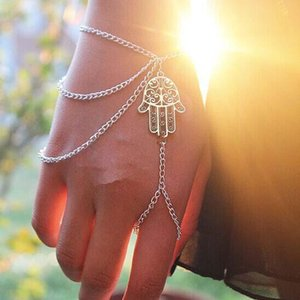 Steet Style Bracelets Asymmetric Women Hamsa Fatima Bracelet Finger Ring Slave Chain Hand Harness Fashion Jewellery Chains Charm Bracelets