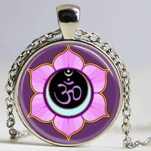 Om Ohm Aum Namastê Yoga Símbolo colar charme brilhante colorido om logotipo pingente muito indiano estilo mulheres jóias presente