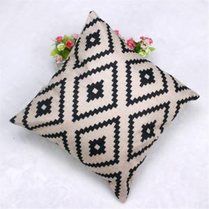 Housse de coussin taie d'oreiller en lin géométrique à motifs de losanges bon marché 45cm u6523