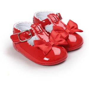 Wholesale- Hot New 0-18M Baby Girl First Walkers Lovely Soft Sole PU Princess Shoes Newborn Infant Anti-slip Crib Shoes Toddler Bow Shoes