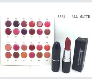 Free Shipping! 2018 High quality New Makeup ALL MATTE Lipstick 3g 24 Different color (24pcs lot)