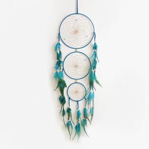 Dreamcatcher Dekoration drei Kreise Dream Catcher bunte Feder Wanddekorationen hängen Accessoires romantisches Geschenk
