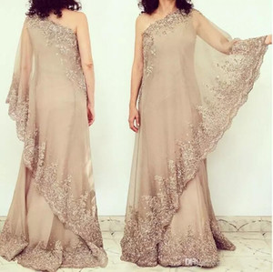 Sexy Lace Sparkly Mother Of Bride Dresses One Shoulder Sheath Chiffon Mother Of Groom Dresses Arabic Evening Dresses