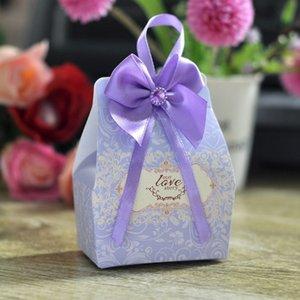 3 cor de caixas de bombons de casamento nupcial decoração papel do presente do chuveiro de bebê presentes favor com Bow Party Bags fornecimento Chocolates de Halloween vermelho