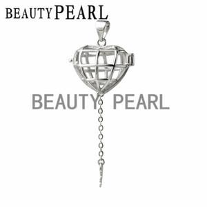 Hediye Kafes 925 Gümüş Lockets Aşk İstek Yüzen İnci Kalp Cage Anahtar kolye 5 adet
