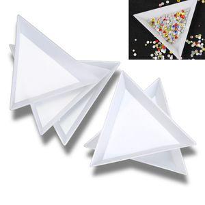 Gran venta !!! 30 piezas de plástico blanco de Triángulo Ronda de Clasificación bandejas del arte del clavo granos del cristal de Herramientas
