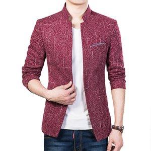 Wholesale- 2016 new arrival solid color slim fit mens blazer fashion men casual suit jackets business outerwear M-5XL CYG128