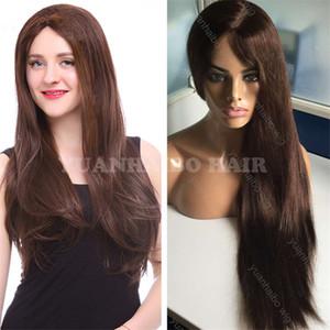 Kosher pelucas 10A grado Color 4 seda recta Virgen mongol cabello humano seda Base judía peluca envío gratis