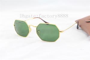 Ausgezeichnete Qualität Achteckige 3556 Sonnenbrille Für Männer Frauen Markendesigner Metallrahmen Sonnenbrille Glaslinsen 53 MM mit Braunen Kasten, fall