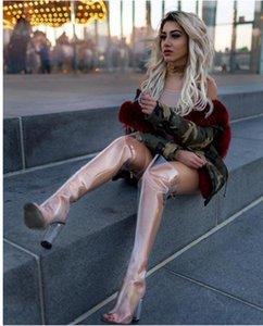 Горячие продажи осень сексуальные женщины острым носом ПВХ сапоги мода Гладиатор сандалии сапоги прозрачный высокий каблук над коленом ясно пятки сапоги женщина