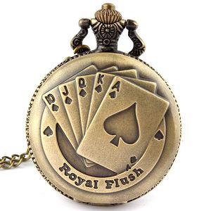 Vente en gros Hot-Fashion Antique Bronze Royal Flush Poker Cartes Montre de poche collier chaîne femmes Gift P80 hommes