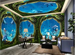 3d потолочных росписей обои настроить фото 3d потолок мечты Ocean World House Wall Нетканые обои для потолков