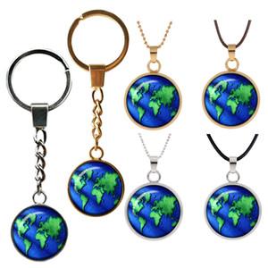 globo mapa do mundo retro colar de pingente de viagem jóias mundo Curvo vidro duplo-chave rosto pingentes fivela