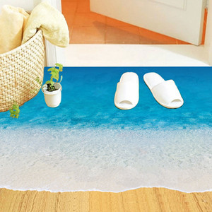 Creative 3D Beach Floor Wall Stickers Vinyl Waterproof Wall Sticker For Bathroom Living Room Home Decoration