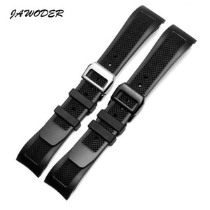 JAWODER Watchband 22mm Black Waterproof Diving Silicone Rubber Watch Band Strap with Stainless Steel Deployment Buckle for Portugal Pilots