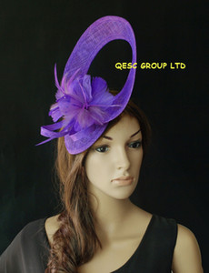 Sinamay Feather Fascinator hat with feather flower for Melbourne cup,kentucky derby.violet blue